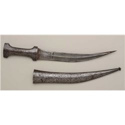Khanja dagger with Damascus pattern blade,  showing unusual tip that splays out when  removed from s