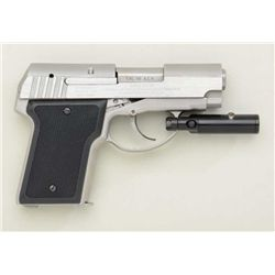 "AMT Back Up Model DA semi-auto pistol, .45  cal., 3"" barrel, stainless steel, bobbed  hammer, checke"