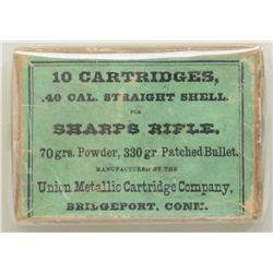 An original box of 10 cartridges, .40-70  Sharps straight, 330 grain patched bullet by  Union Metall