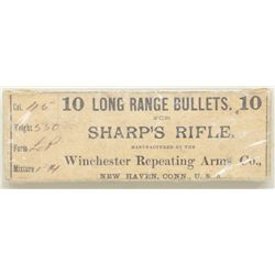 Original full and unopened box of 10 long  range bullets for Sharps rifle by Winchester  Repeating A