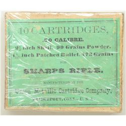 .50 cal. box of cartridges marked for Sharps  rifle by Union Metallic Cartridge Company,  notes 2-1/