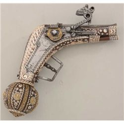 Saxon Royal Court style wheel lock pistol  with finely inlaid stocks, showing gold gilt  bronze acce
