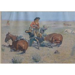 "Early Frederick Remington print entitled  ""Caught In The Circle"", measuring 11"" x  15-1/2"", 1908 cop"