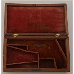 Mid-19th century pistol case for American  style revolver, circa 1850s-60s, red  velveteen lined par