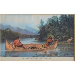 "Currier & Ives print of American hunting  scenes, entitled ""A  Good Chance"", left  corner shows Free"