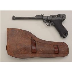 "Rare original western style double loop  holster for artillery Luger marked on top  loop ""R T Frazie"