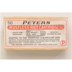 "Desirable box of cartridges by Peters showing  label which reads ""Rustless Riot Cartridges""  .45 aut"