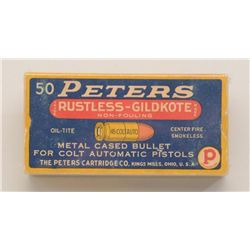 Full box of ammunition for .45 Colt auto by  Peters showing makers name and logo marked  centerfire