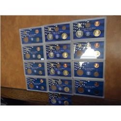 13 PARTIAL US PROOF SETS (AS SHOWN)