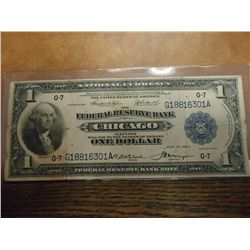 1918 US LARGE SIZE $1 NATIONAL CURRENCY