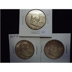 1952-S,57 & 62 (PF) FRANKLIN HALF DOLLARS