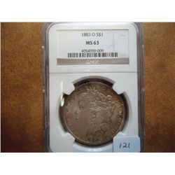 1883-O  MORGAN SILVER DOLLAR NGC MS63