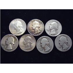 7 ASSORTED 1940'S WASHINGTON SILVER QUARTERS
