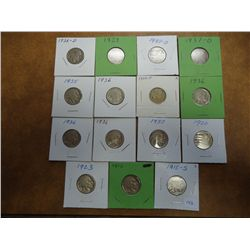 15 BUFFALO NICKELS 1915-1937