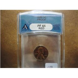 1954 LINCOLN CENT ANACS PF65 RED