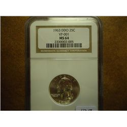 1963-DDO WASHINGTON QUARTER NGC MS64