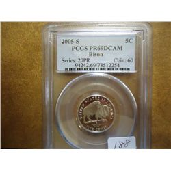2005-S BISON NICKEL PCGS PR69 DCAM
