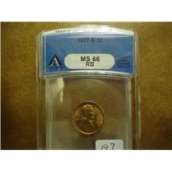 1937-S LINCOLN CENT ANACS MS66 RB