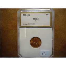 1954-S LINCOLN CENT PCI MS68 RED