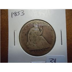 1853 WITH ARROWS SEATED LIBERTY HALF DOLLAR