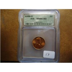 1958-D LINCOLN CENT ICG MS66 RD