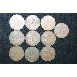 Great Britain Penny, Various Dates & Conditions, Lot of 10
