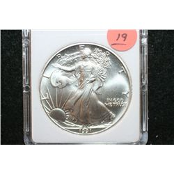 1991 Silver Eagle $1, MCPCG Graded MS70