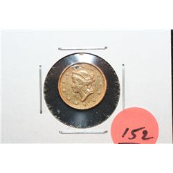 1851 Liberty $1 Gold Coin, Type I, Ding