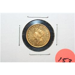 1855 Indian Princess $1 Gold Coin, Type II, Removed from Jewelry