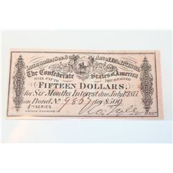 The Confederate States of America $500 Bond