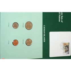 Cayman Islands; Coin Sets of All Nations w/Stamp Dated 1992
