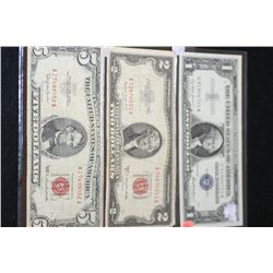 1957 US Silver Certificate $1, Blue Seal, 1953-B United States Note $2, Red Seal and 1963 United Sta