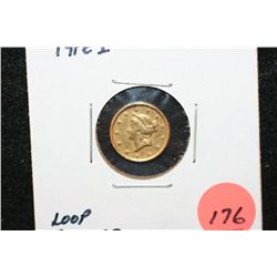 1853 Liberty $1 Gold Coin, Type I, Loop Removed