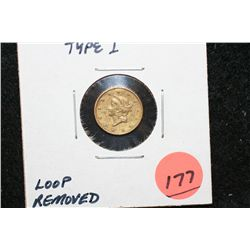 1849 Liberty $1 Gold Coin, Type I, Loop Removed