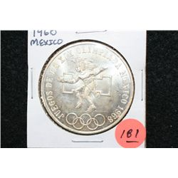 1968 Mexico Olympic 25 Pesos Foreign Coin, Ley 0.720