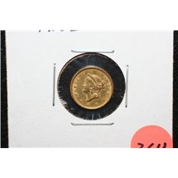 1851 Liberty $1 Gold Coin, Type I, Scratches
