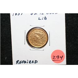 1859 Liberty $2 1/2 Gold Coin, Repaired