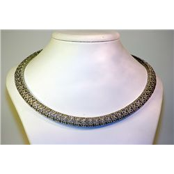 Lady's 14kt White Gold Blue Sapphire/Diamond Necklace
