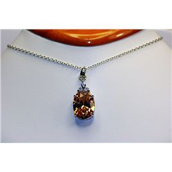 Lady's Beautiful Sterling Diamond & Almandine Garnet Necklace