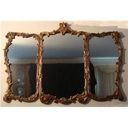 Large 4 Ft Gilded Custom Made 3 Pc Vintage Mirror