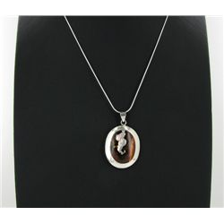 Sterling Red Coral Mother Pearl Pendant Necklace (JEW-1417)