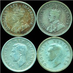 1933-50 S Africa 6p Silver 4pcs XF/VF (COI-10323)