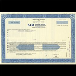 1980s Amer. Insured Mtg. Stock Certificate Scarce (COI-3455)
