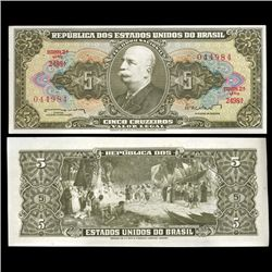 1962 Brazil 5 Crusados Crisp Uncirculated Note (CUR-05577)
