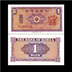 1962 S Korea 1 Won Note Crisp Unc (CUR-06741)