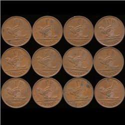 1965 Ireland 1p AU/Unc 12pcs (COI-10183)