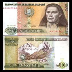 1987 Peru 500 Intis Crisp Uncirculated Note (CUR-05842)