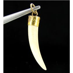 Ivory Carved Horn Pendant w/ Gold Vermeil (JEW-2400)