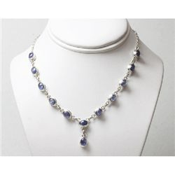 Natural 19.96g Tanzanite Necklace .925 Sterling Silver