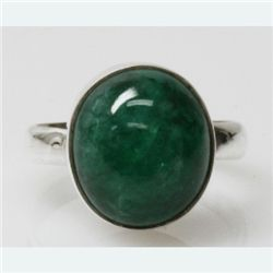 Natural 3.67g Emerald Oval Ring .925 Sterling Silver
